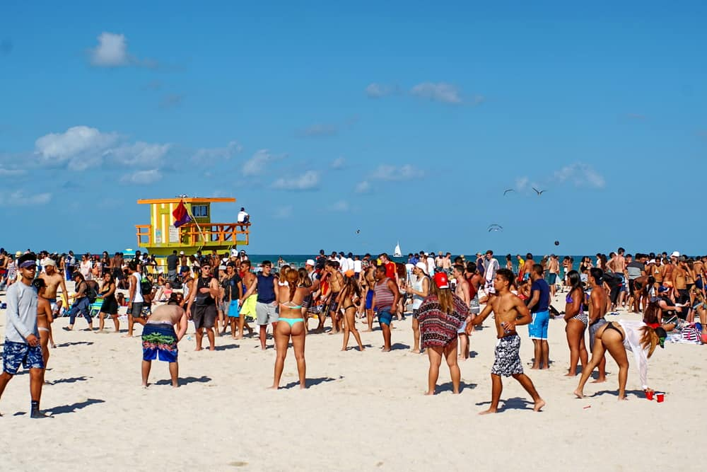 Miami is a rowdy spring break destination known for party beaches and nightlife.