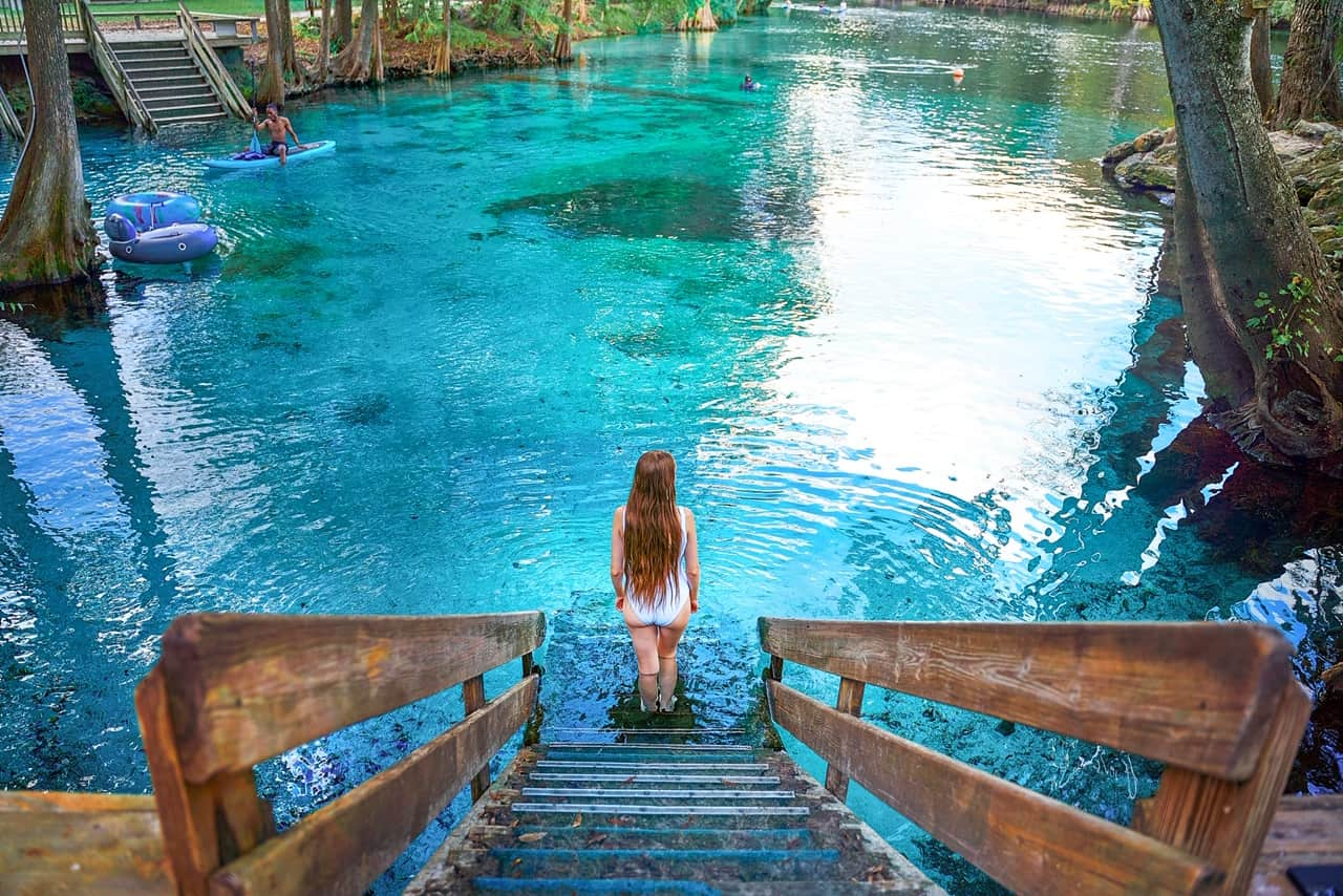 walking down into one of the prettiest springs in Florida