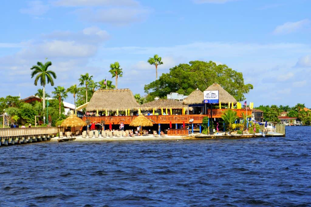 The Boat House Tiki Bar & Grill sits on the waters of the Caloosahatchee River, one of the best things to do in Cape Coral.