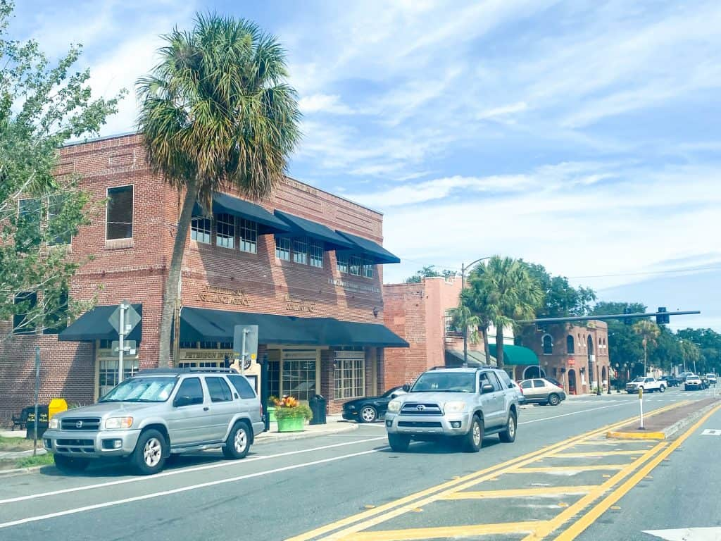 Downtown in Dade City, where motorists actually slow down for pedestrians!