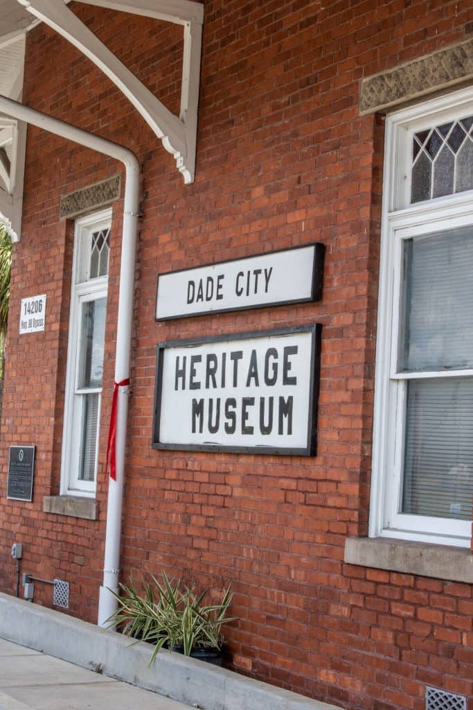 The sign out front on the train depot at the Dade City Heritage Museum.