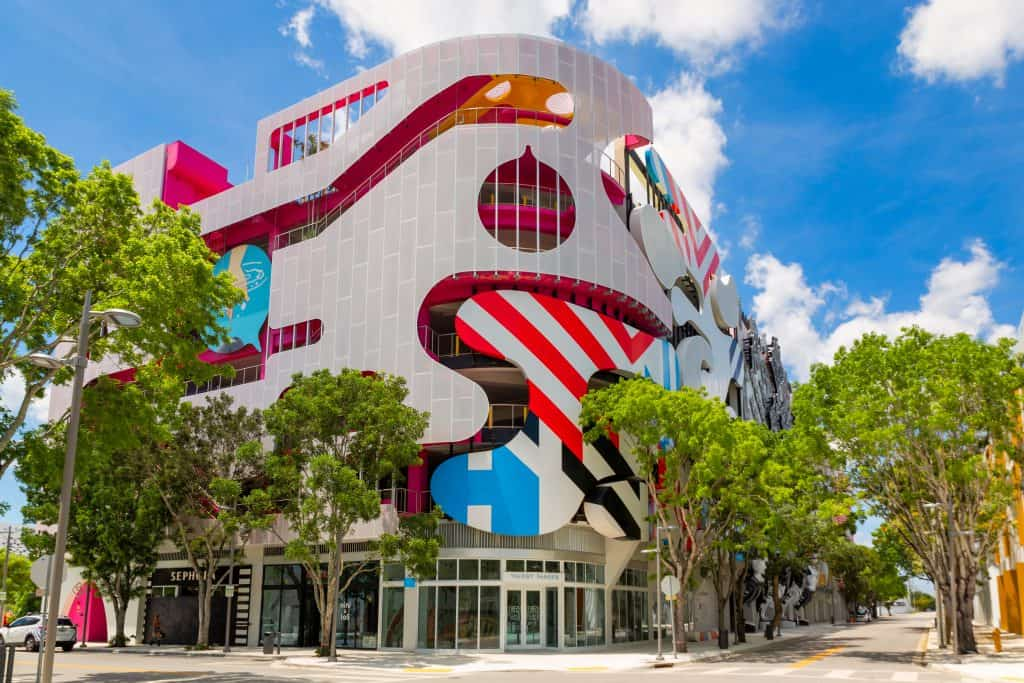 A parking garage decorated in the art deco style in the Design District, one of the best things to do in Miami.