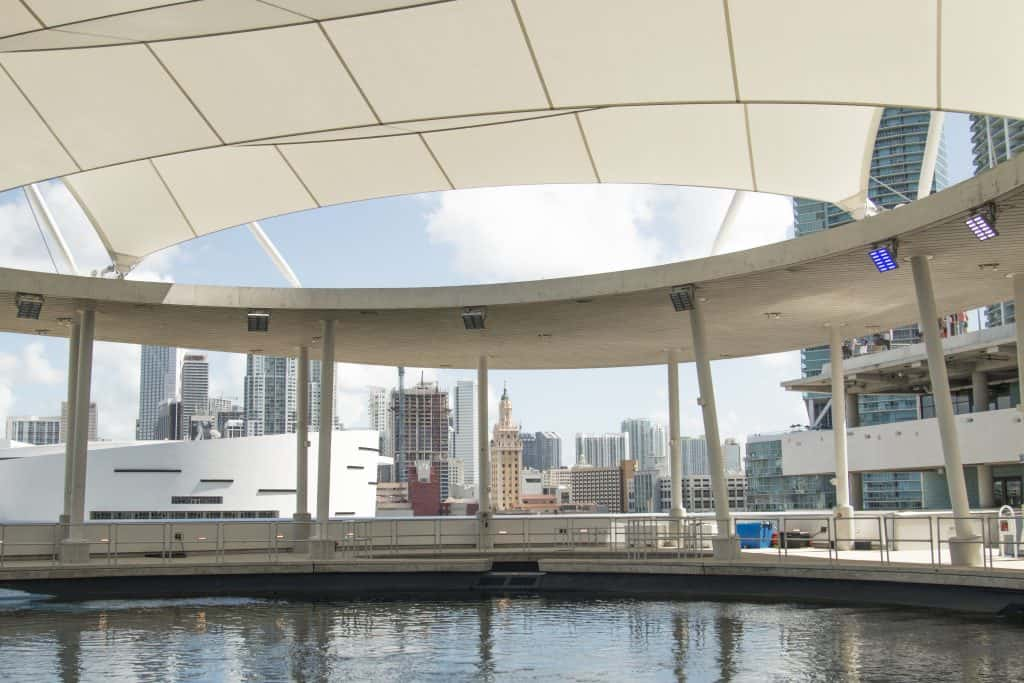 The aquarium level of the Frost Museum of Science looks out at the Miami skyline.