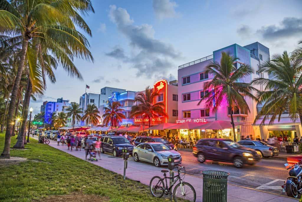 Ocean Drive glitters at night in Miami, Florida.