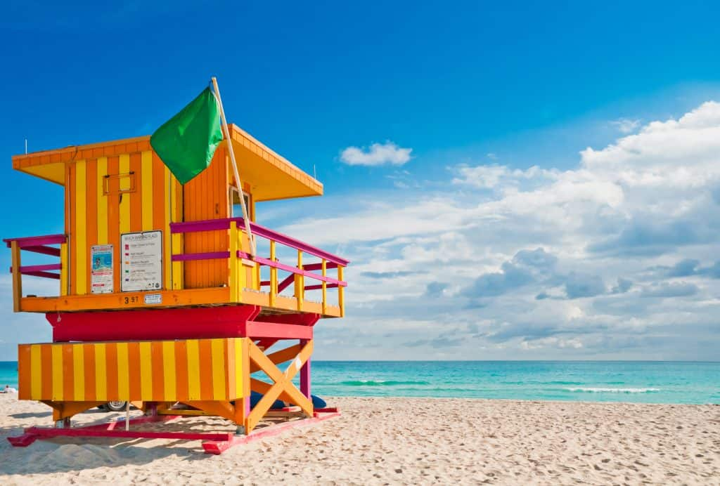 A brightly colored lifeguard stand in South Beach, one of the best free things to do in Miami Florida.