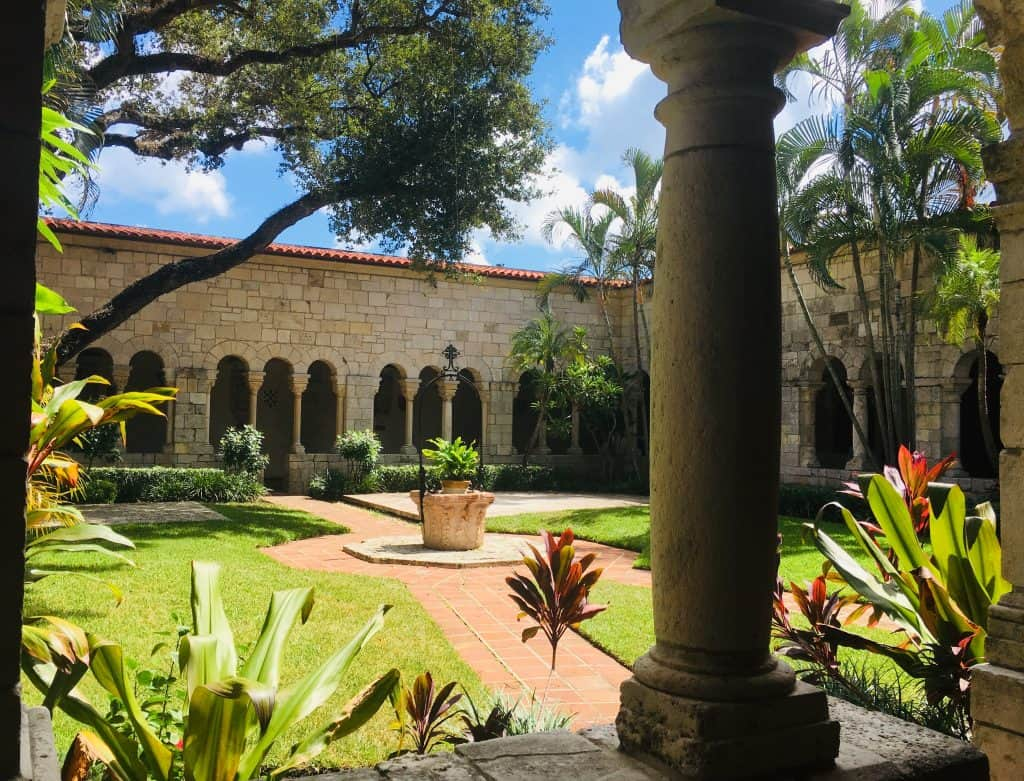 A view of the gardens of the Spanish Monastery in Miami, Florida.