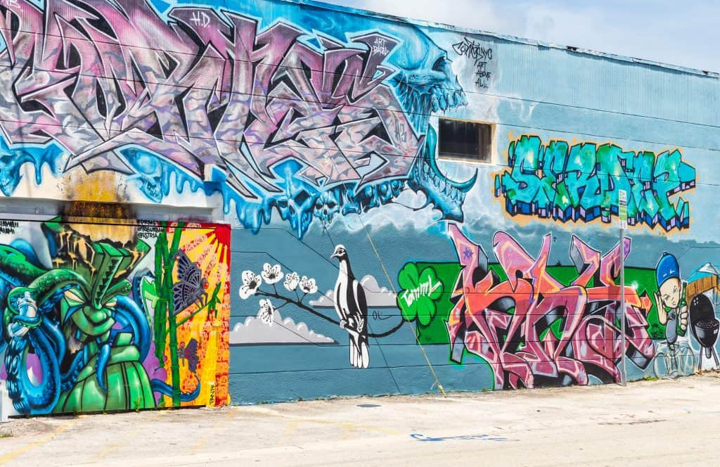 Graffiti covers a wall at the Wynwood Walls, one of the best things to do in Miami.
