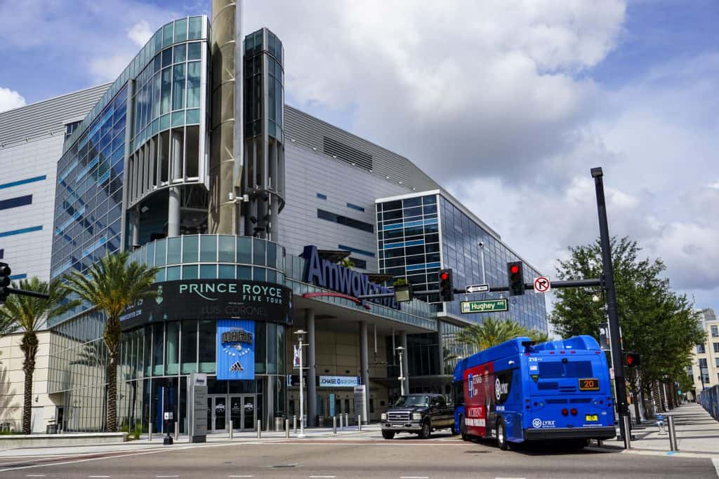 The exterior of the Amway Center, the only place in Florida to see the Orlando Magic play!