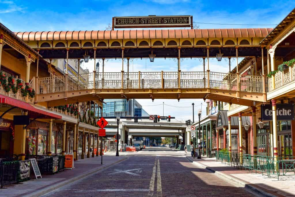 The walkway over the historic Church Street District in Orlando, Florida.