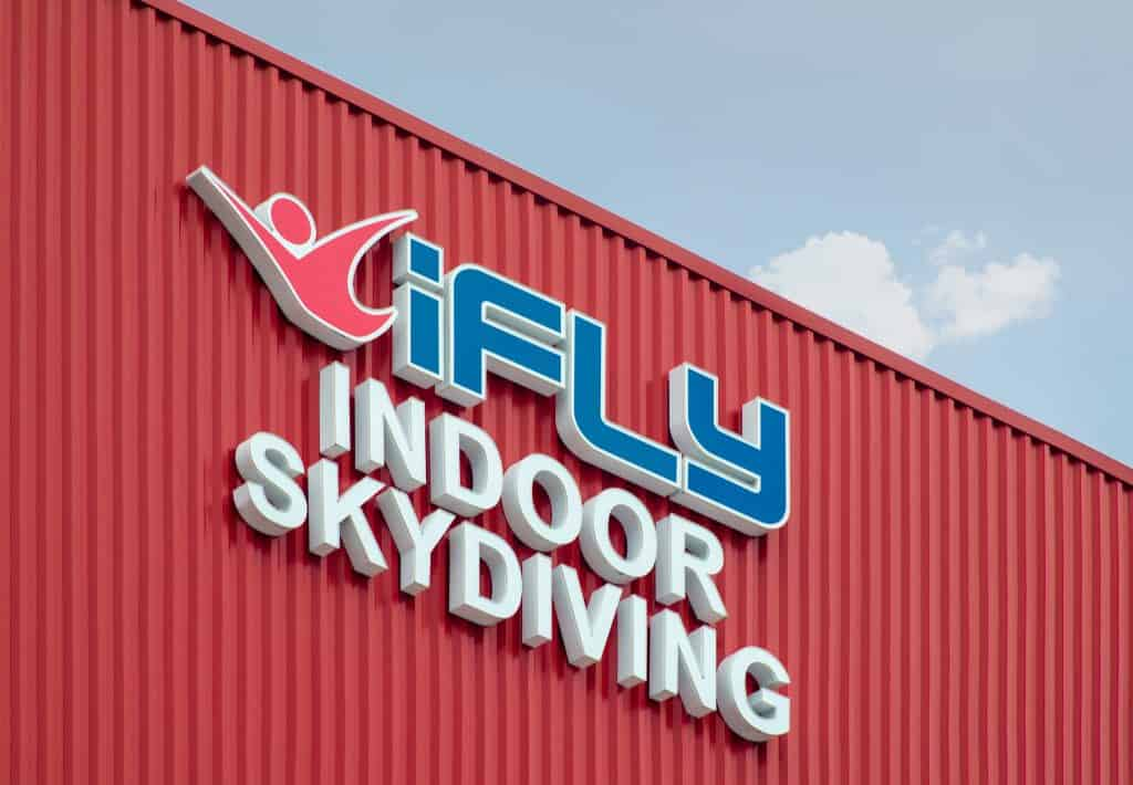 The logo on the side of iFly Orlando, the only way to go skydiving without the heights, one of the best things to do in Orlando.