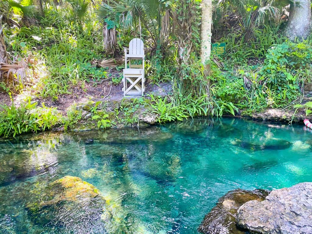 A lifeguard chair watches over the tranquil waters of Blue Springs State Park.