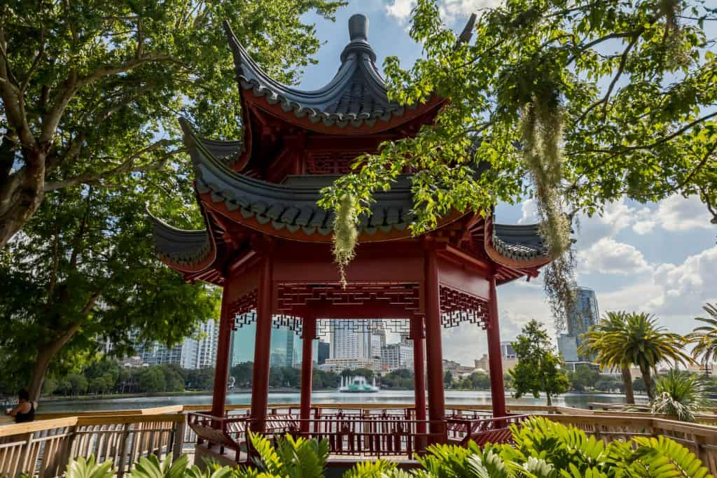 A pagoda in the middle of Lake Eola Park, one of the best places to relax in Orlando.