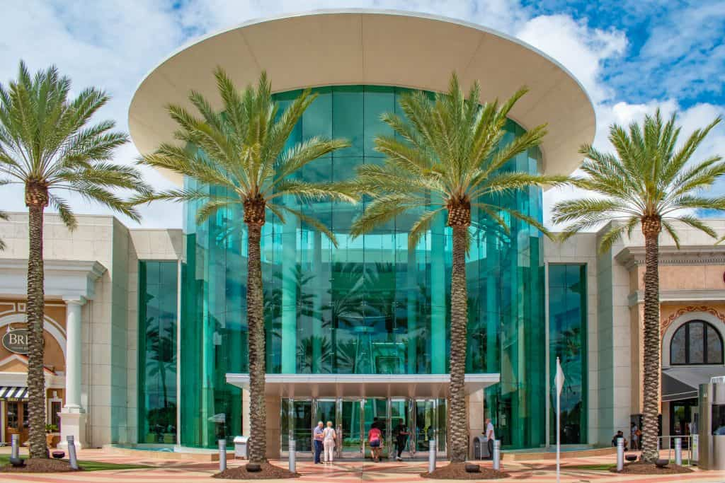 The beautiful glass entrance to the Mall of Millenia in Orlando, Florida.