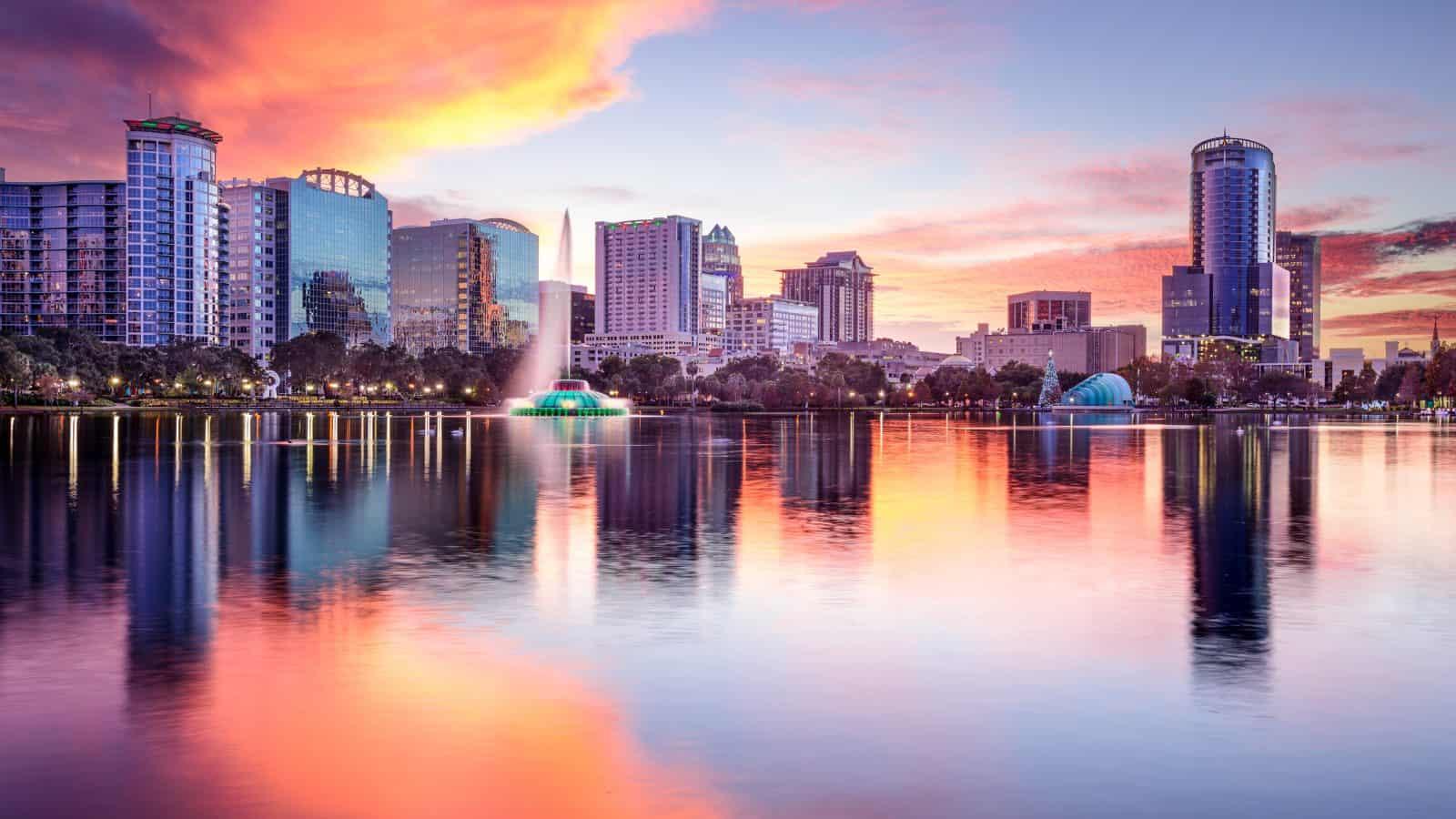 Orlando, over Lake Eola at sunset.
