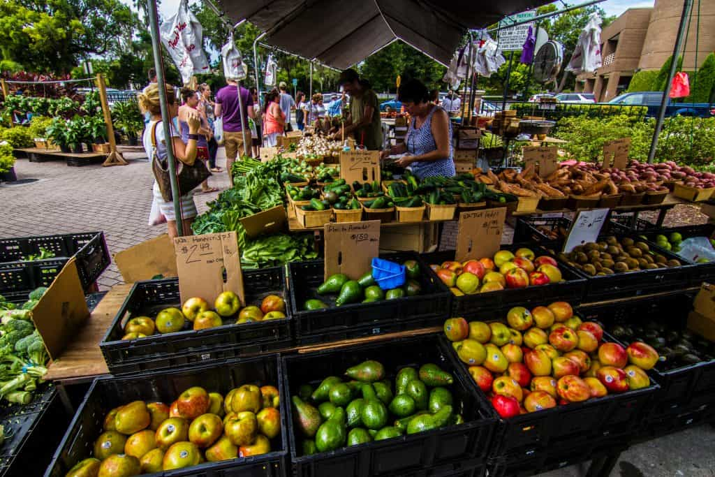 An expansive array of fruits and vegetables awaits hungry shoppers at the Winter Park Farmers Market, one of the best things to do in Orlando.