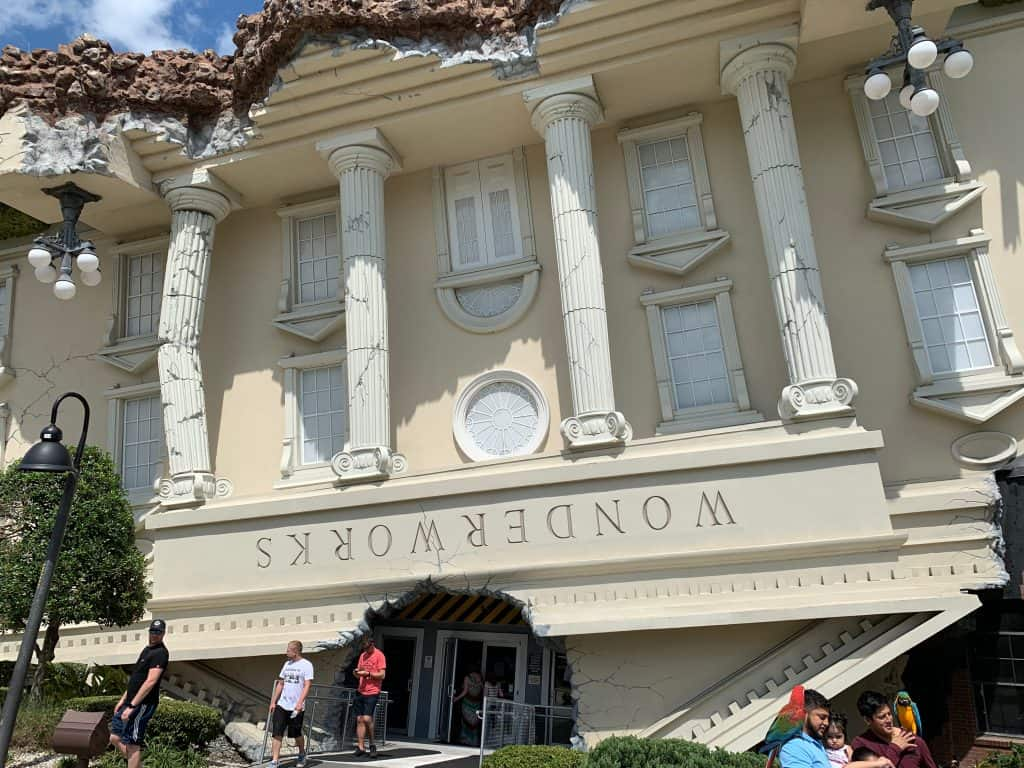 The upside down exterior of Wonderworks, one of the best things to do in Orlando.