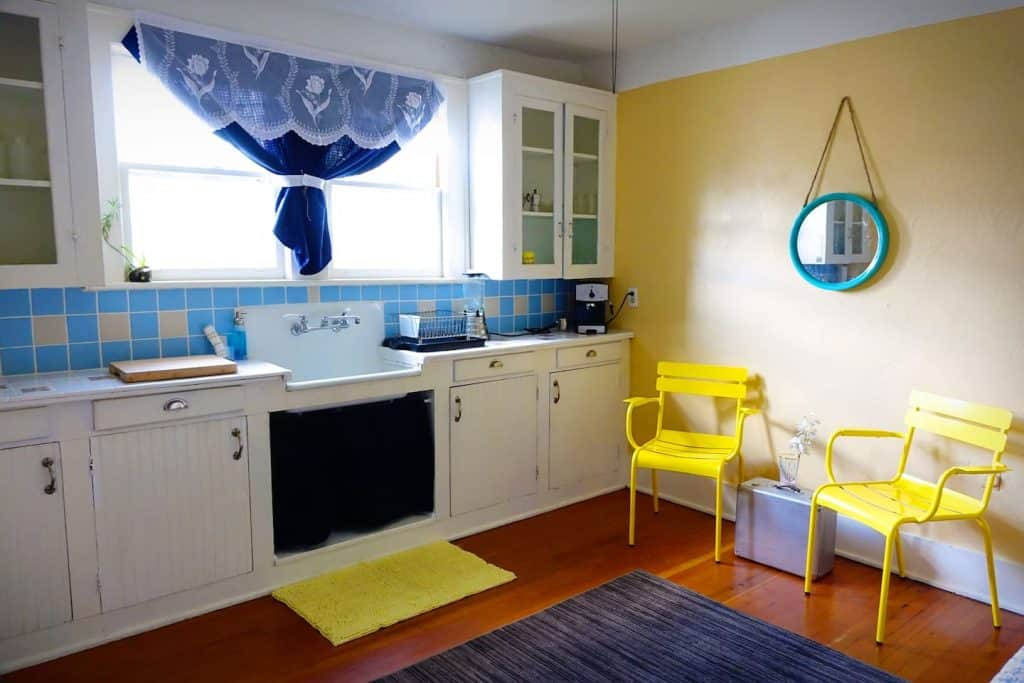 Photo of the kitchen and seating area inside an Airbnb apartment in Sarasota.
