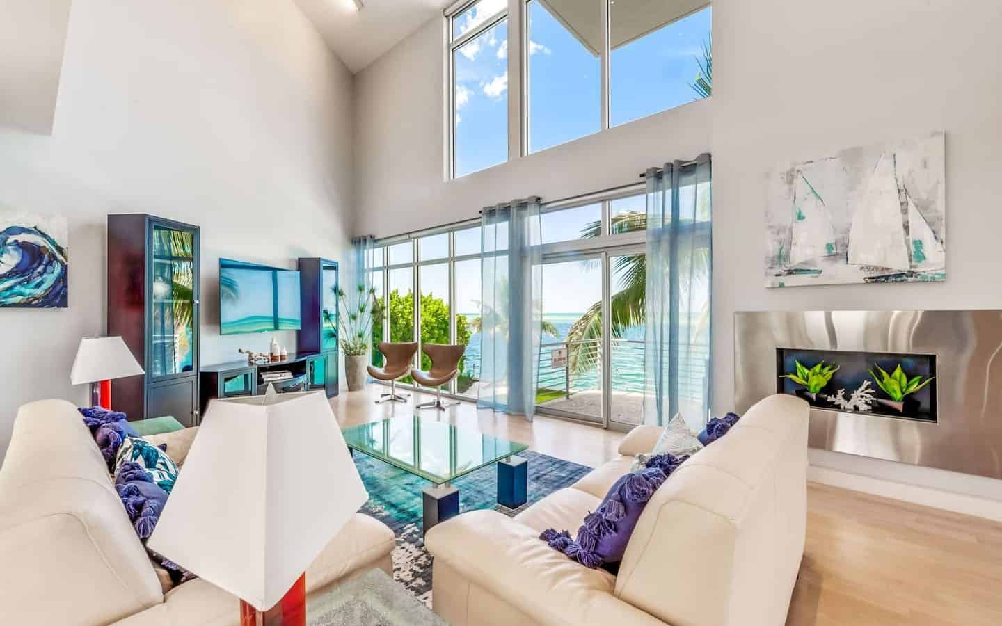 Photo of a living room with an ocean view inside an Airbnb in Sarasota.