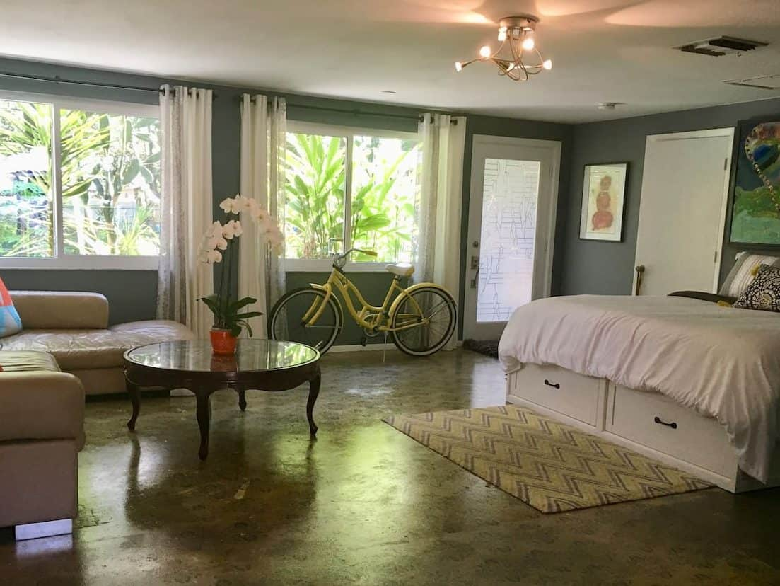 Photo of the living space inside of The Be Suite Airbnb in Sarasota.