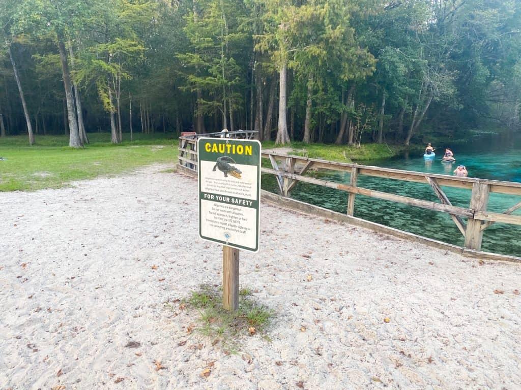 sign for alligators at Gilchrist Blue Springs