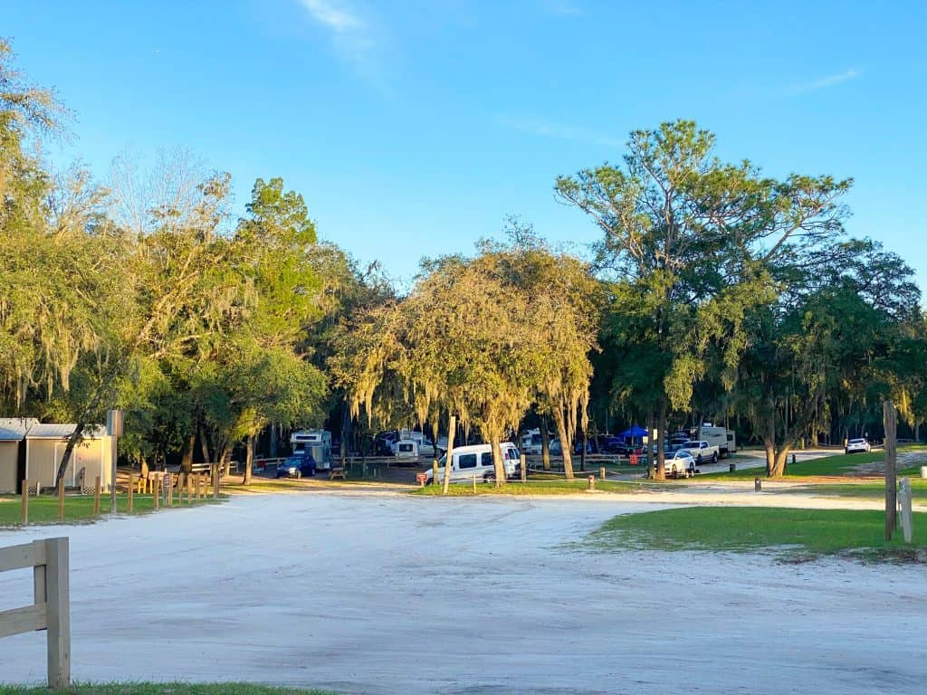 people camping at Gilchrist Blue Springs State Park in Florida