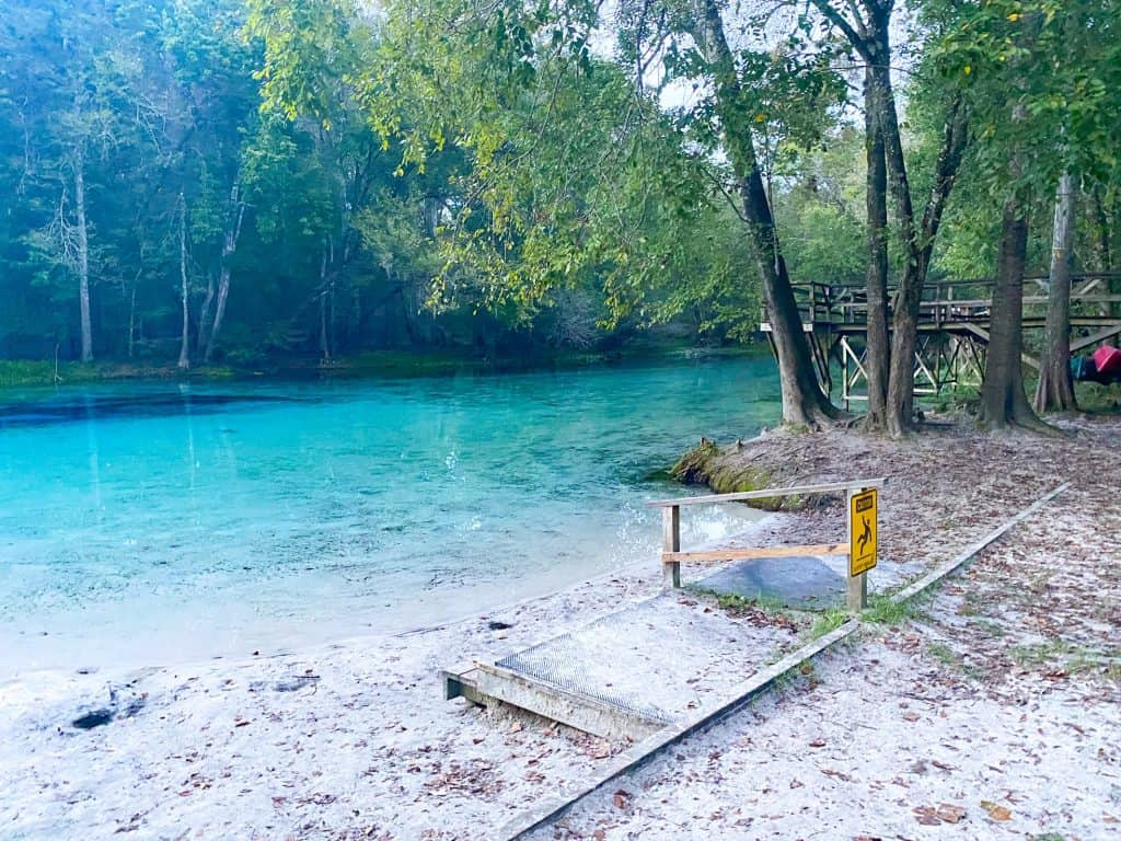 sandy entry point into Gilchrist Blue Springs State Park