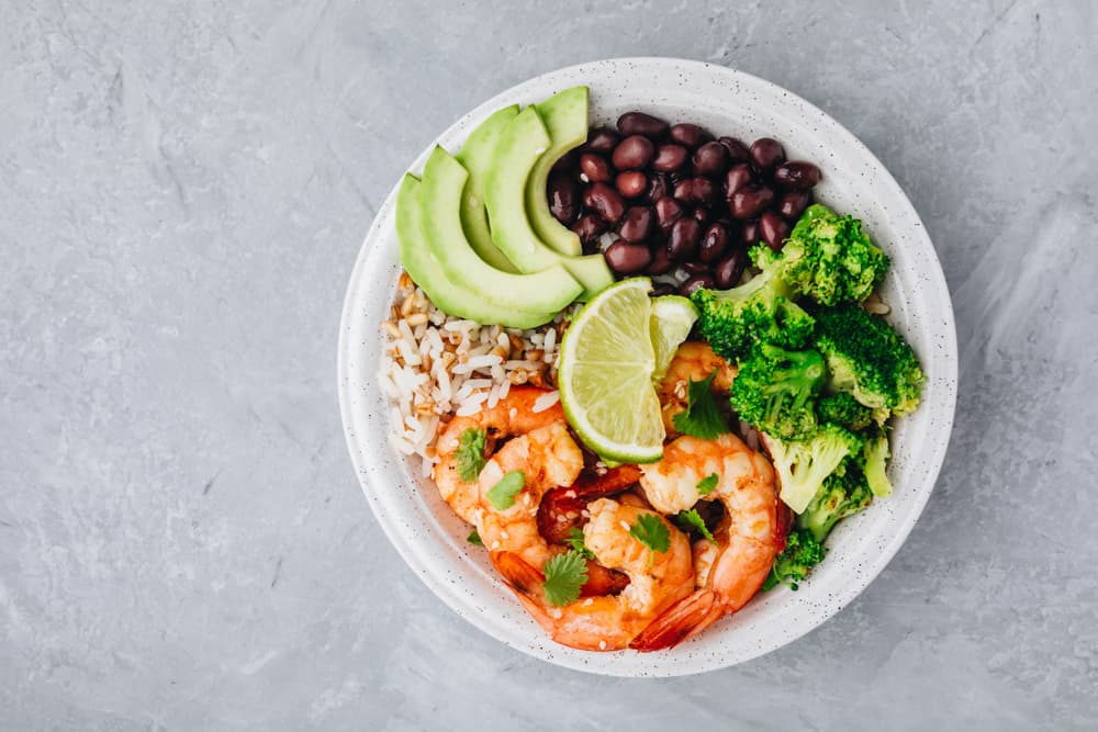 Crave was once a food truck and. is now a healthy spot to eat try the shrimp bowl