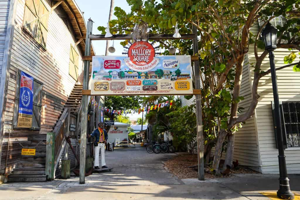 The entrance to Mallory Square which houses Hot Tin Roof, one of the best breakfast places in Key West.