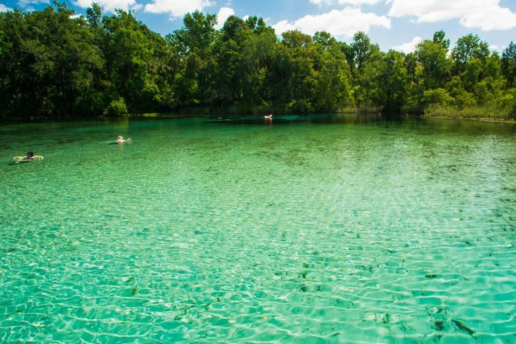 Sunbathers lounge in the green waters of Alexander Springs.