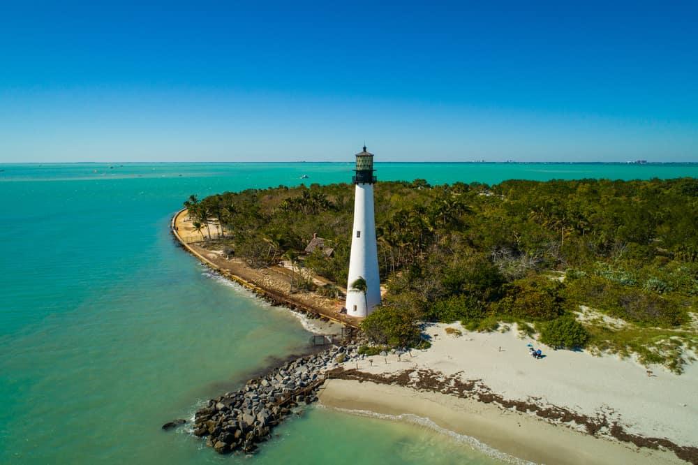 Cape Florida lighthouse on the beach