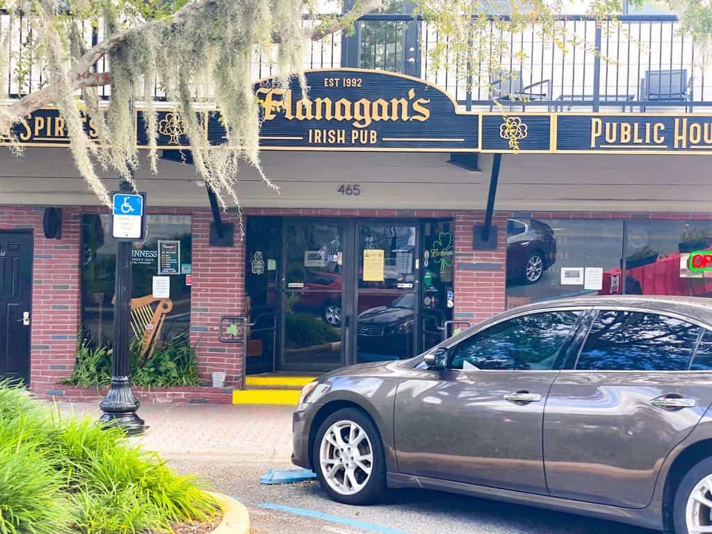 The welcoming entrance to Flanagan's Irish Pub.