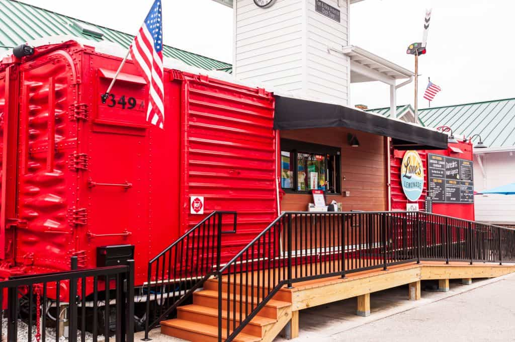 The red boxcar that houses Lane's Lemonade awaits customers, one of the best restaurants in Dunedin.