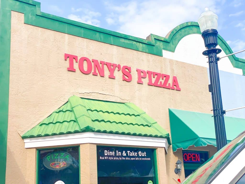 Tony's Pizza, one of the best restaurants in Dunedin, and it's colorful awning.