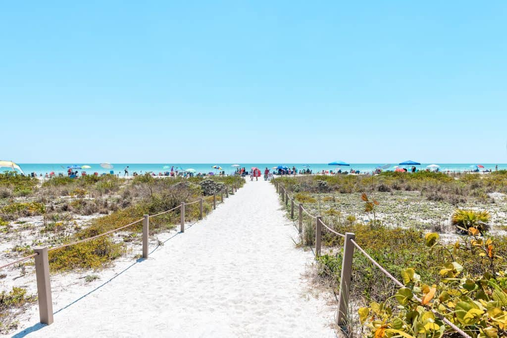 A sandy path leads the way to Bowman's Beach, one of the best Sanibel Island beaches.