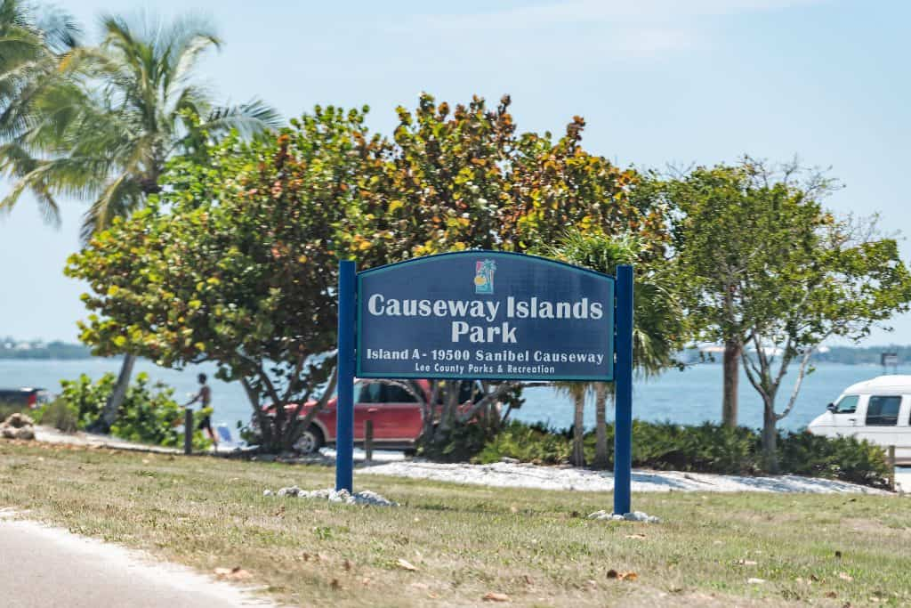 A sign welcomes visitors to the Causeway Islands Park, which houses some of the best beaches in Sanibel.