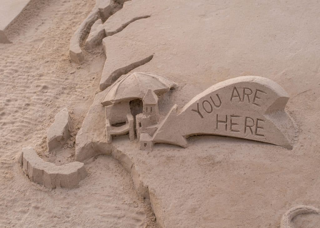 A map carved into the sand of the beaches in Sanibel marks the location on Florida's Gulf Coast.