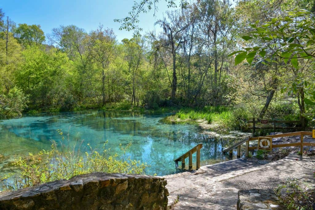 A staircase descents into the cool, blue waters of Ichetucknee Springs one of the best springs near Tampa.