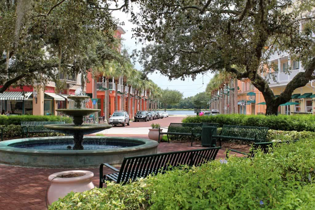 A small fountain sits in the town plaza at Celebration, Florida, formerly owned by Walt Disney World.