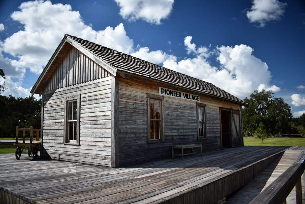 A relocated building marks the Pioneer Village, one of the most interesting things to do in Kissimmee.