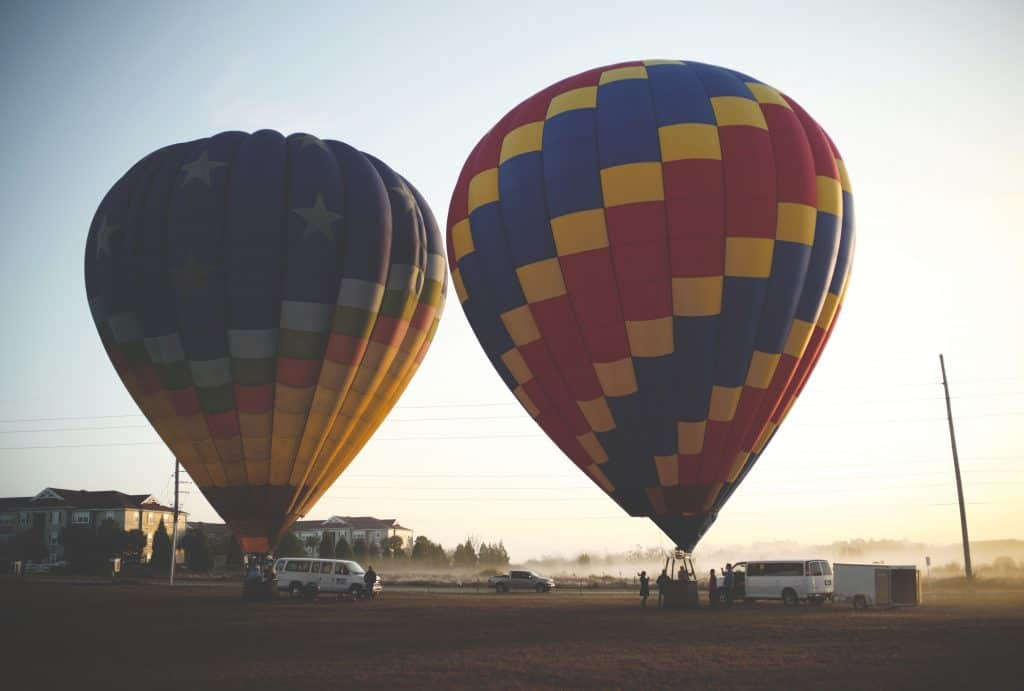 Two air ballons prepare to launch at dawn at Thompson Aire.