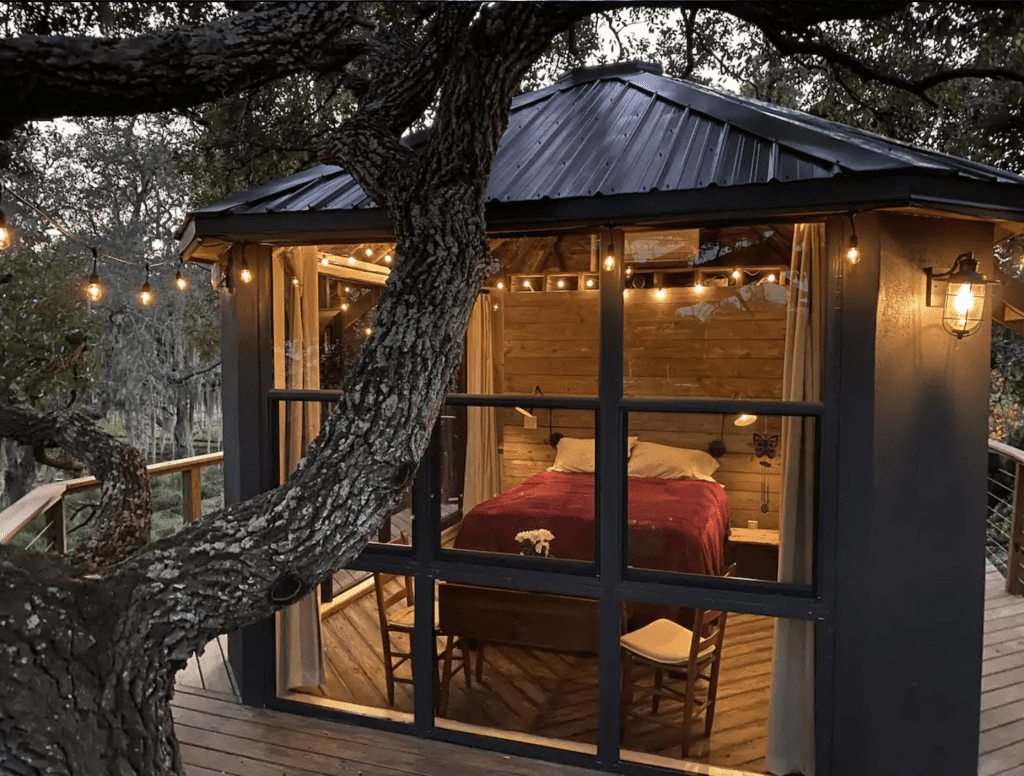The Treehouse in the Clouds sits in a real tree, and is one of the best vacation rentals in Kissimmee.