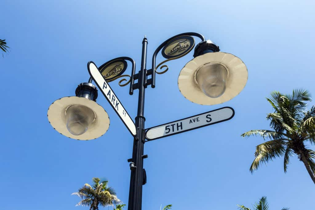 The intersection of Park and Fifth Avenue South, one of the best shopping destinations in the Marco Island area.