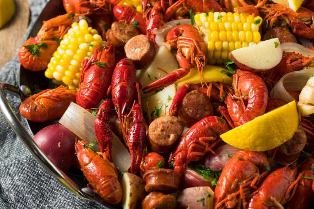 A traditional Cajun boil served at Dee's Hangout, one of the best things to do in Panama City.