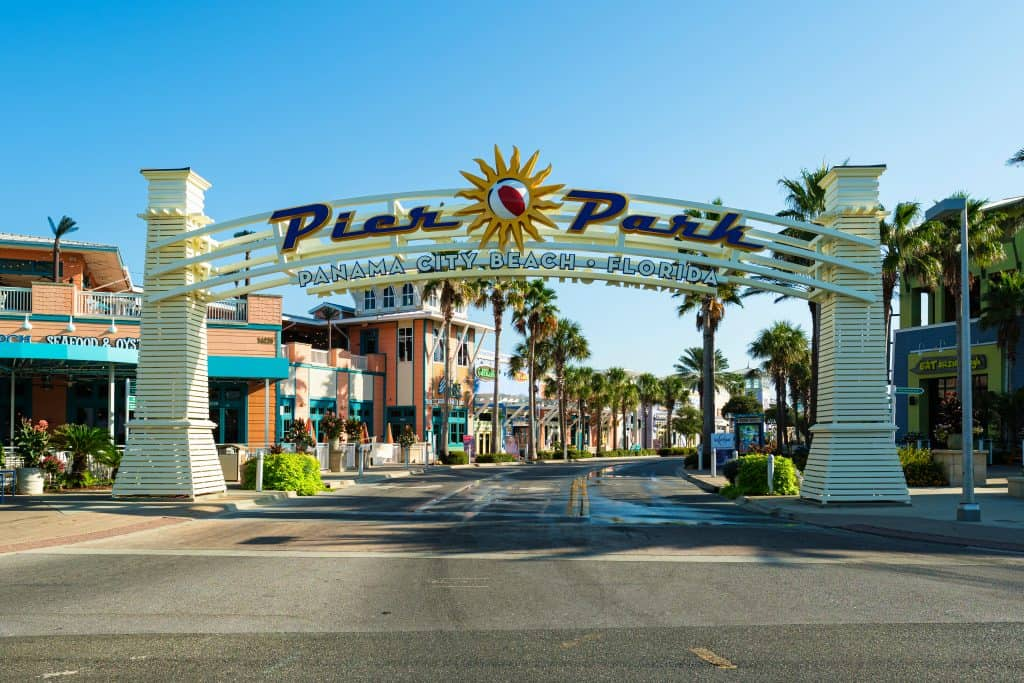 The Archway greets visitors to Pier Park, one of the best things to do in Panama City, Florida.