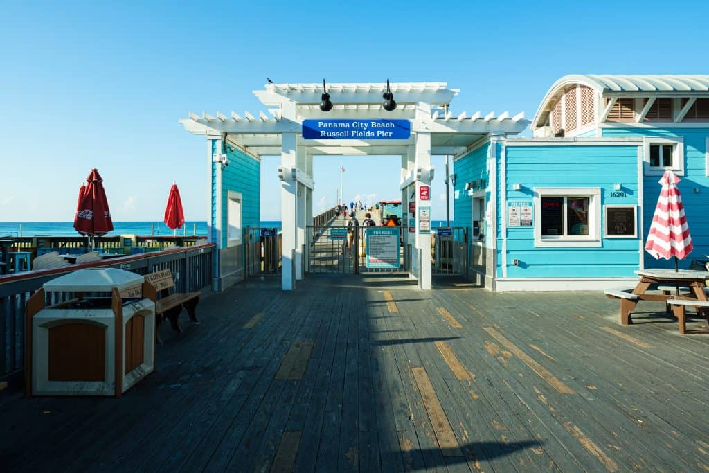 The bait and tackle shop and ticketing booth for the Russell Fields Pier, one of the best things to do in Panama City.