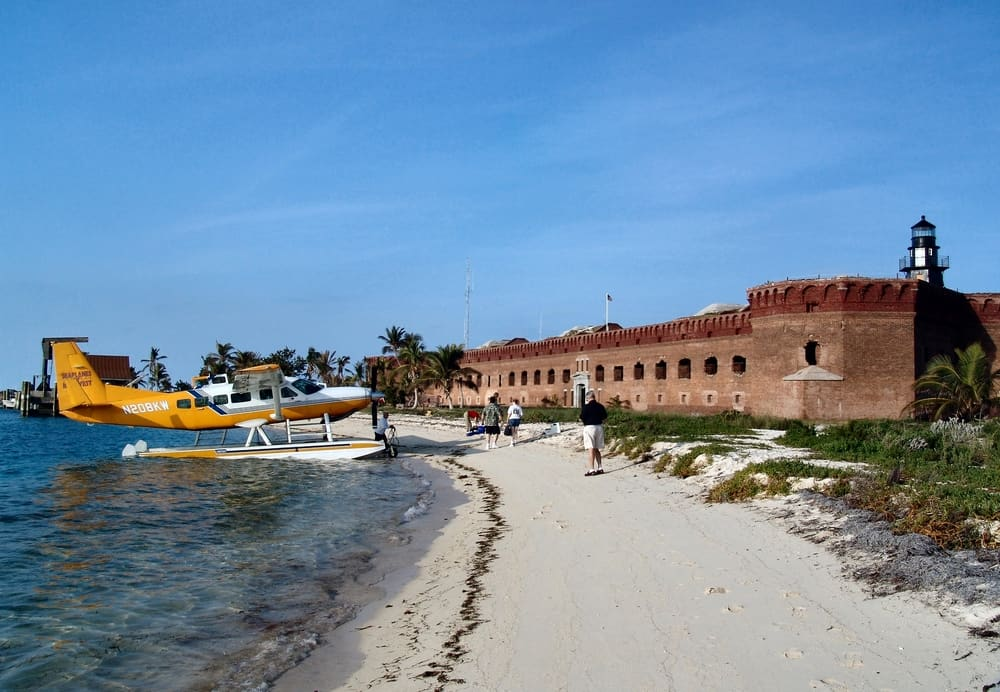 The seaplane at Dry Tortugas National Park with Fort Jefferson