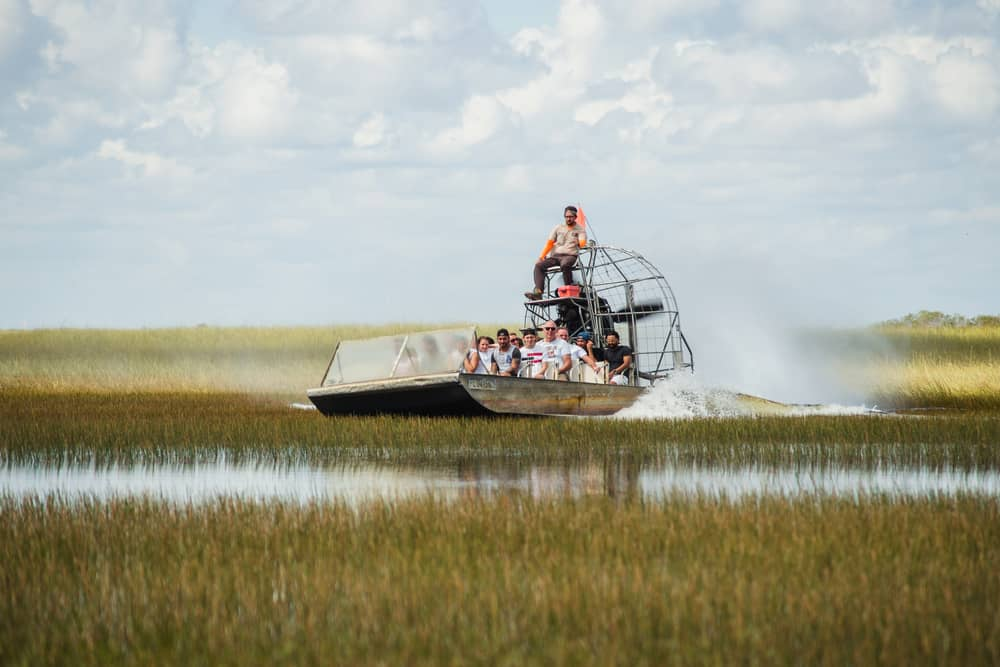 Airboats in the Everglades glide over the swamp at speeds of 40 miles per hour.