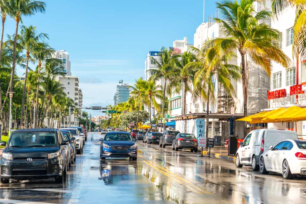 A wet street in Miami, Florida