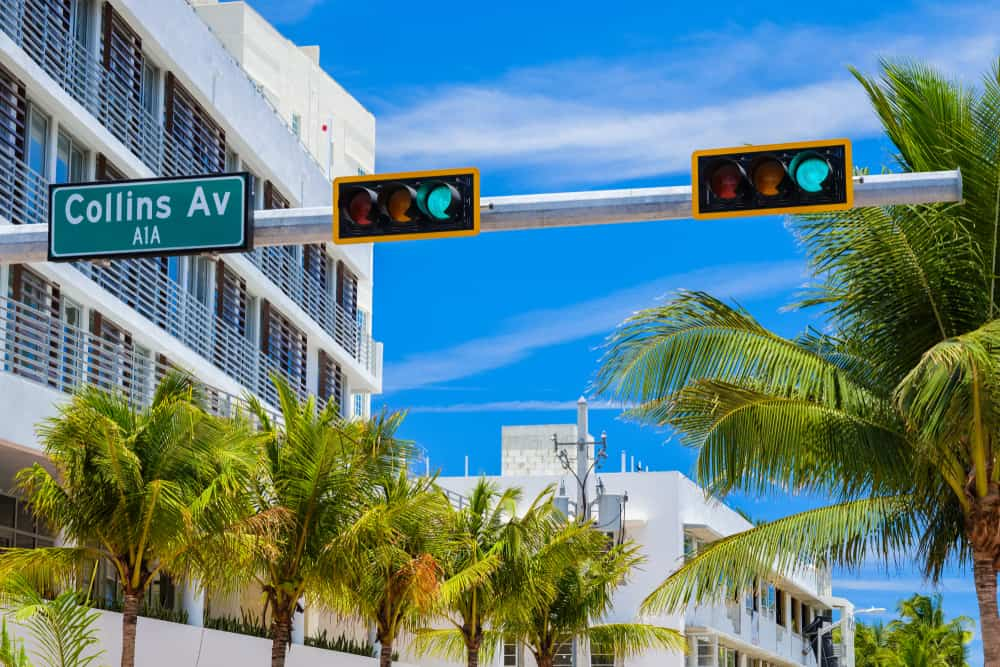 Traffic signals on a Miami street