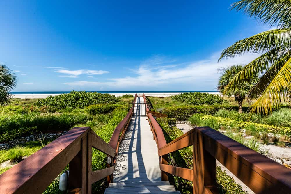 Boardwalk leading to the beach at Marco Island